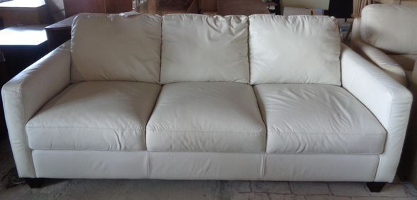 Details About Macy's Natuzzi Emilia White Leather Two