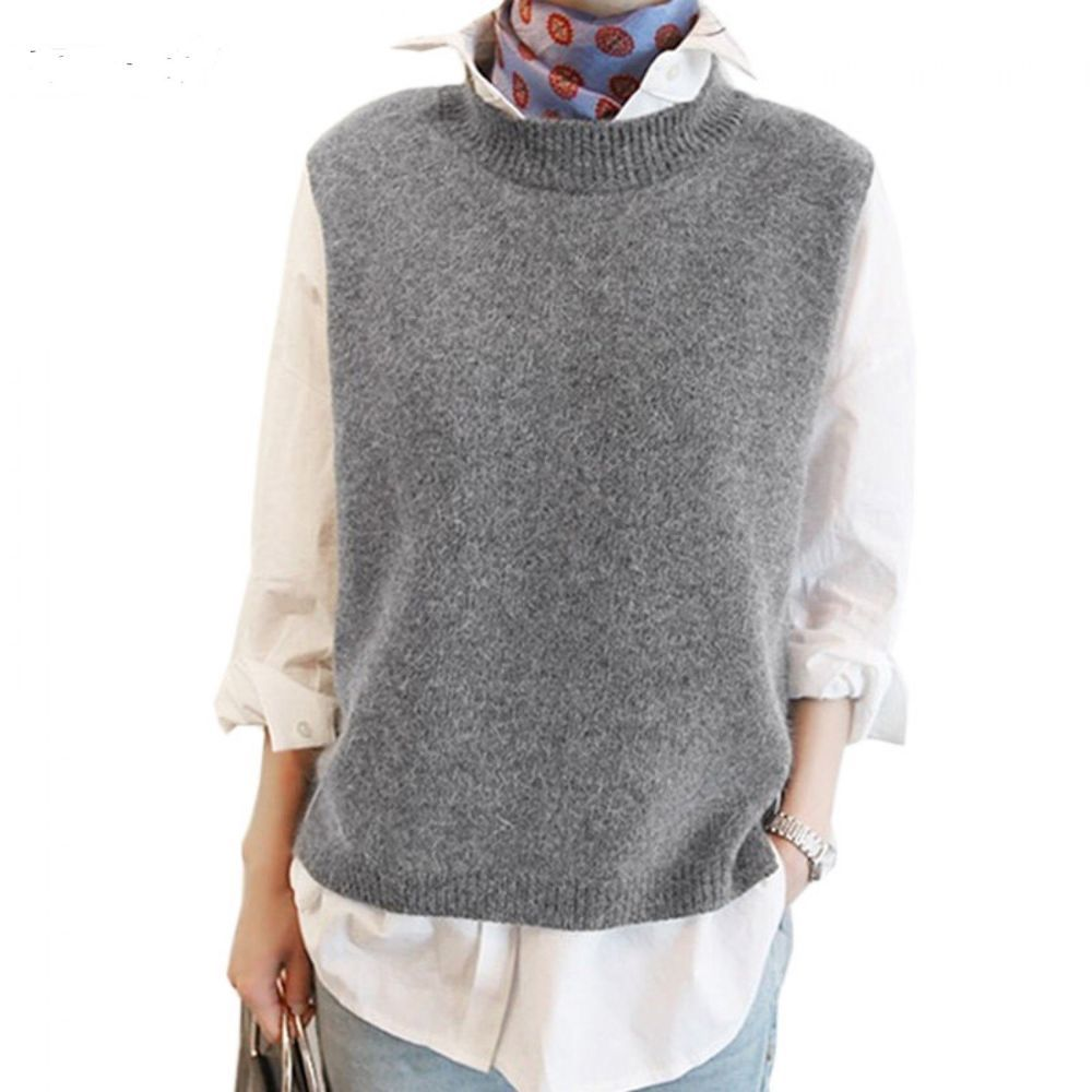 Wool Women Sweater Vest Sleeveless O-Neck Knitted Long Spin Vests ...