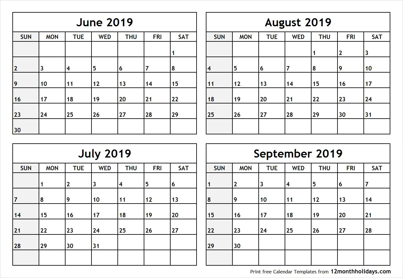 Printable Blank Four Month June July August September 2019