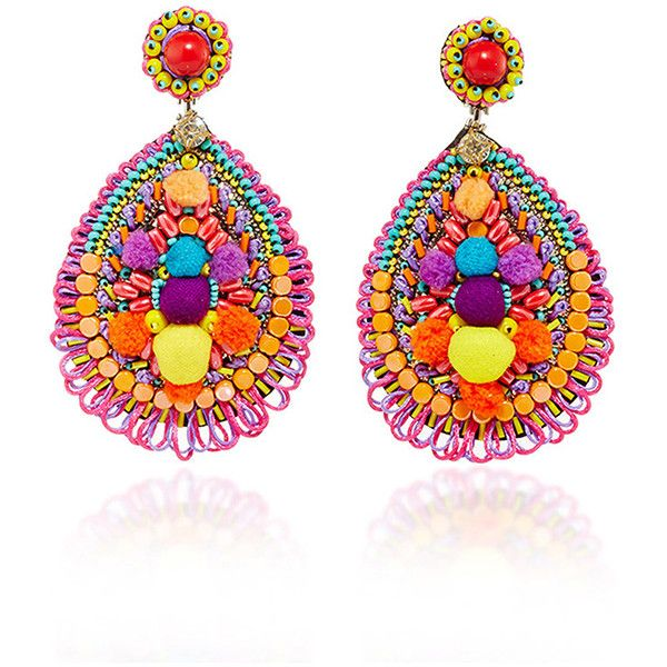 Ranjana Khan Embellished Drop Earrings (1.044.620 COP) ❤ liked on Polyvore featuring jewelry, earrings, tear drop earrings, leather jewelry, floral earrings, multi colored earrings and colorful earrings