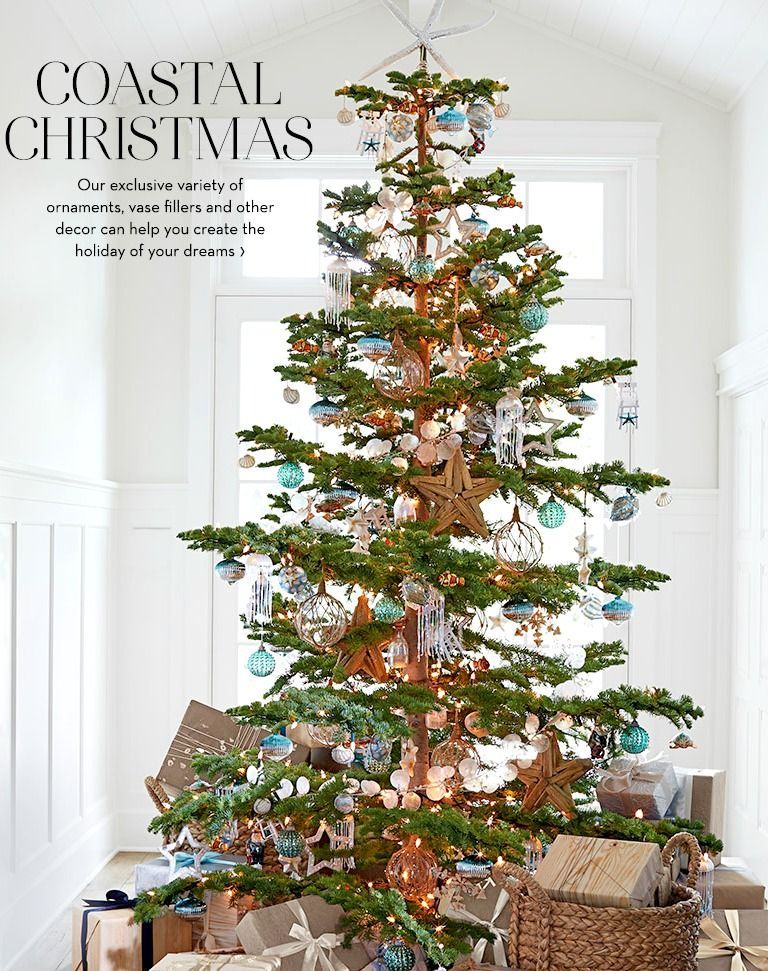 Pottery Barn's Beachy Christmas Tree. Featured on Beach Bliss Living: http://beachblissliving.com/beach-christmas-decorations/