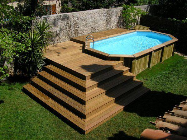 Le piscine hors sol en bois - 50 modèles - Archzinefr Jacuzzi - installer une terrasse en bois