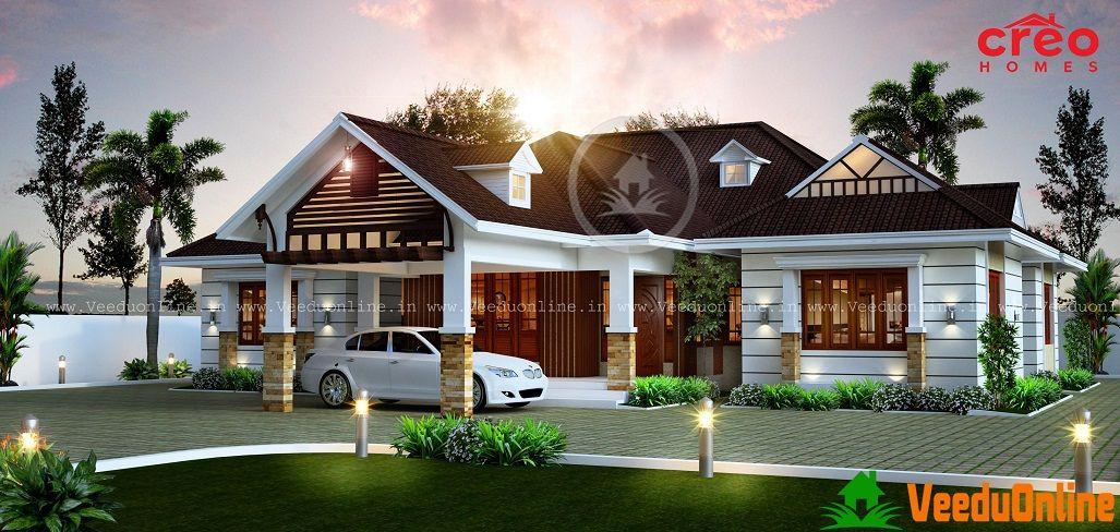 2490 Sq Ft Sloped Roof Single Floor Home Design In 2019