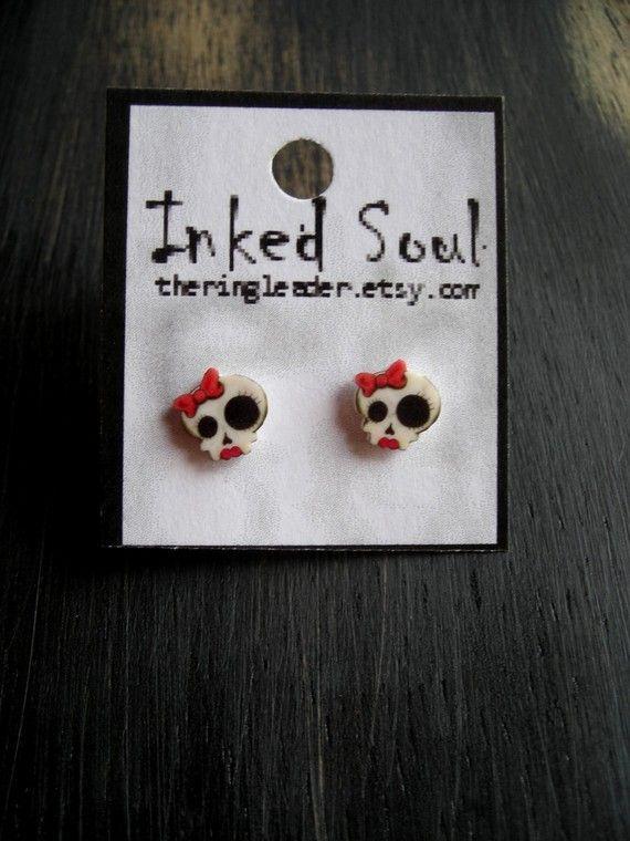 Cute Little Girly Skull Earrings by theringleader on Etsy, $9.95