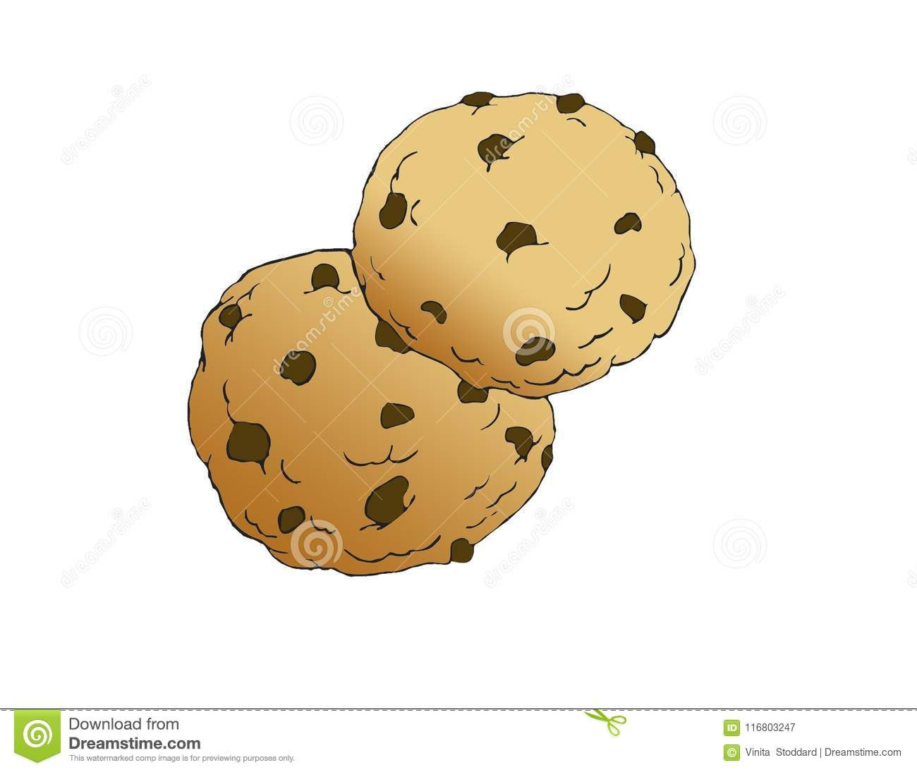 Delicious Chocolate Chip Cookies In Color Stock