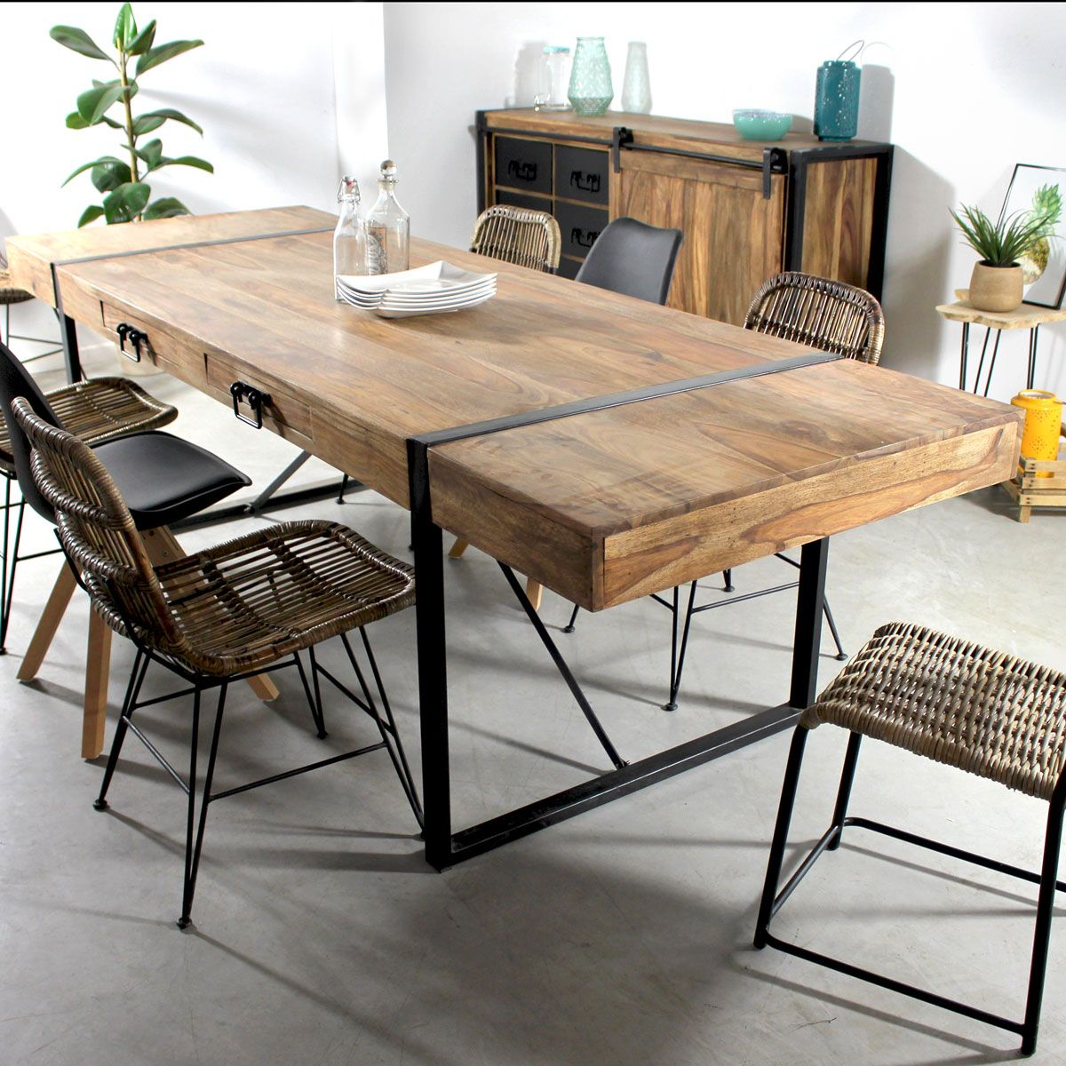 Table manger avec allonges en acacia fonc en 2019 - Table de salle a manger avec chaises ...