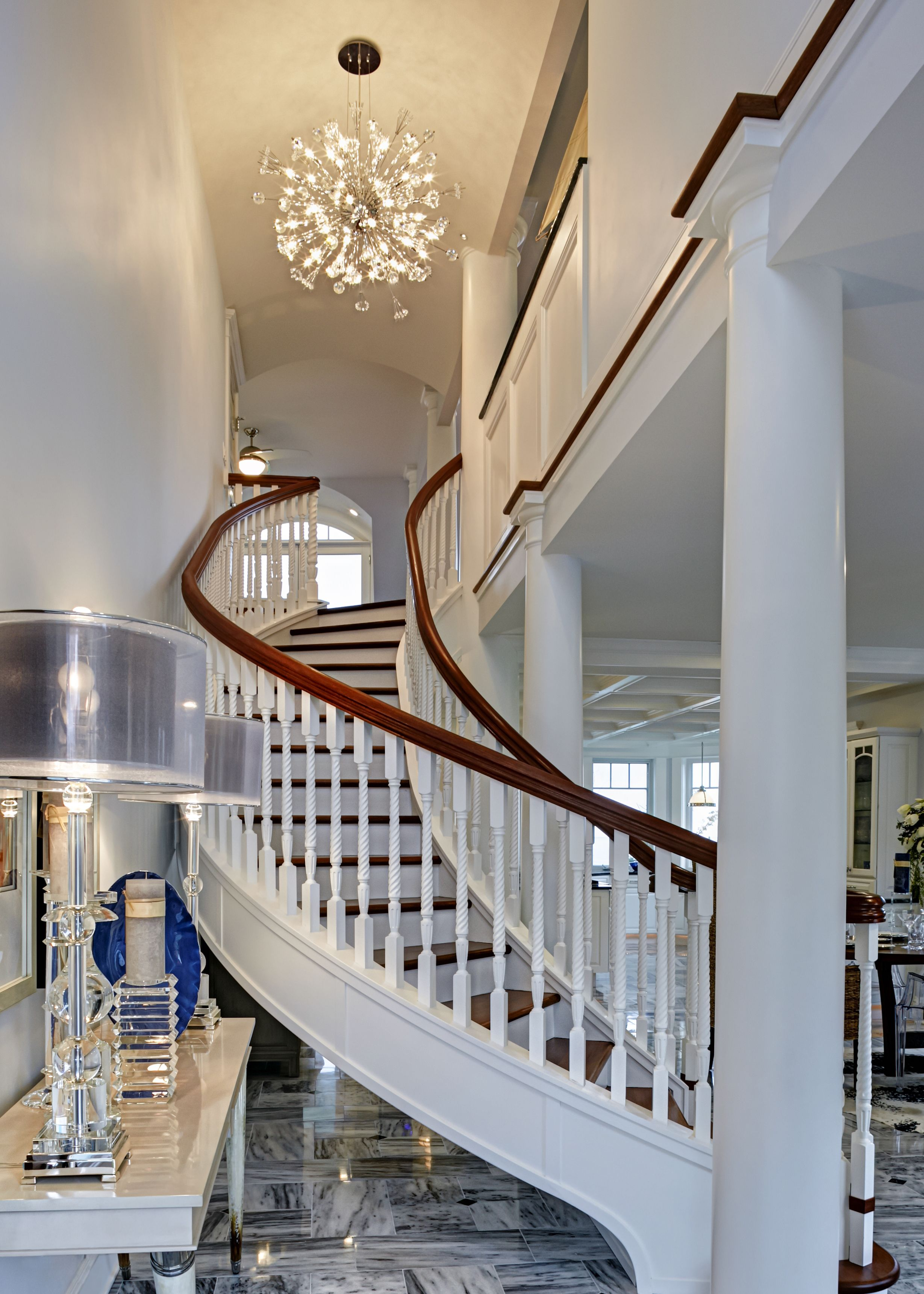 Home interior stairs a stunning curved floating stairwell of african mahogany was hand