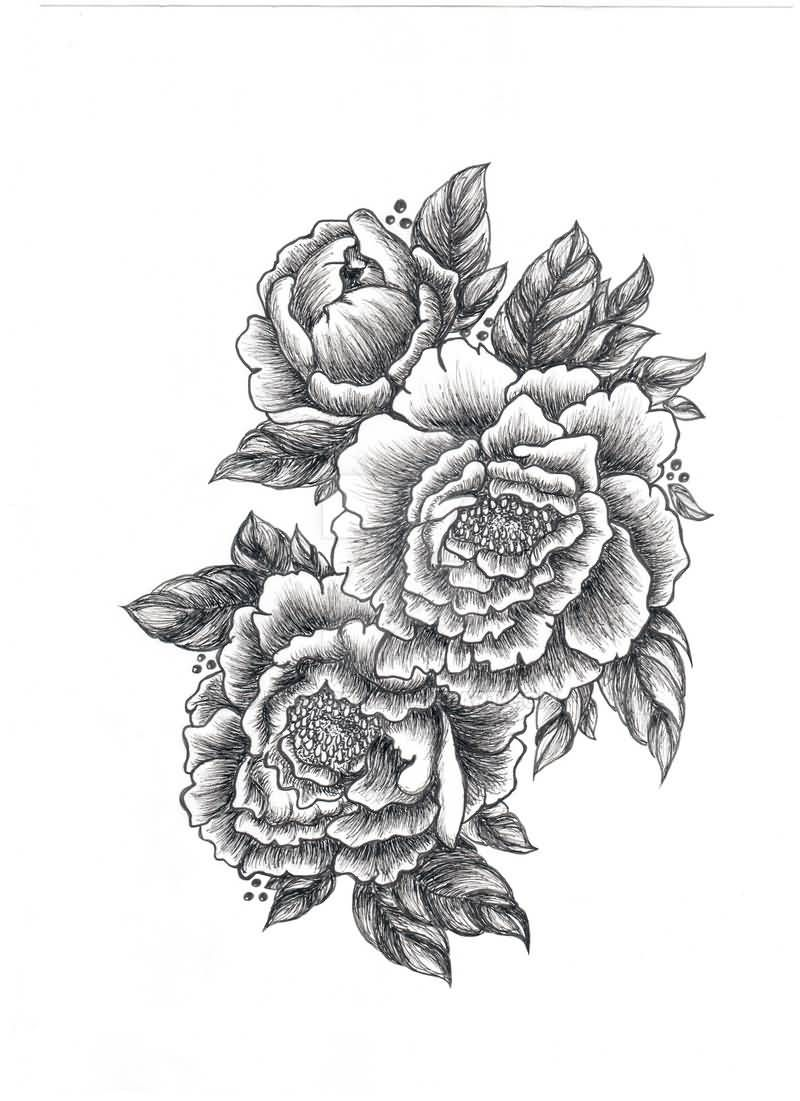 Peony tattoo black white recherche google ink pinterest peony tattoo black and white dhlflorist Images