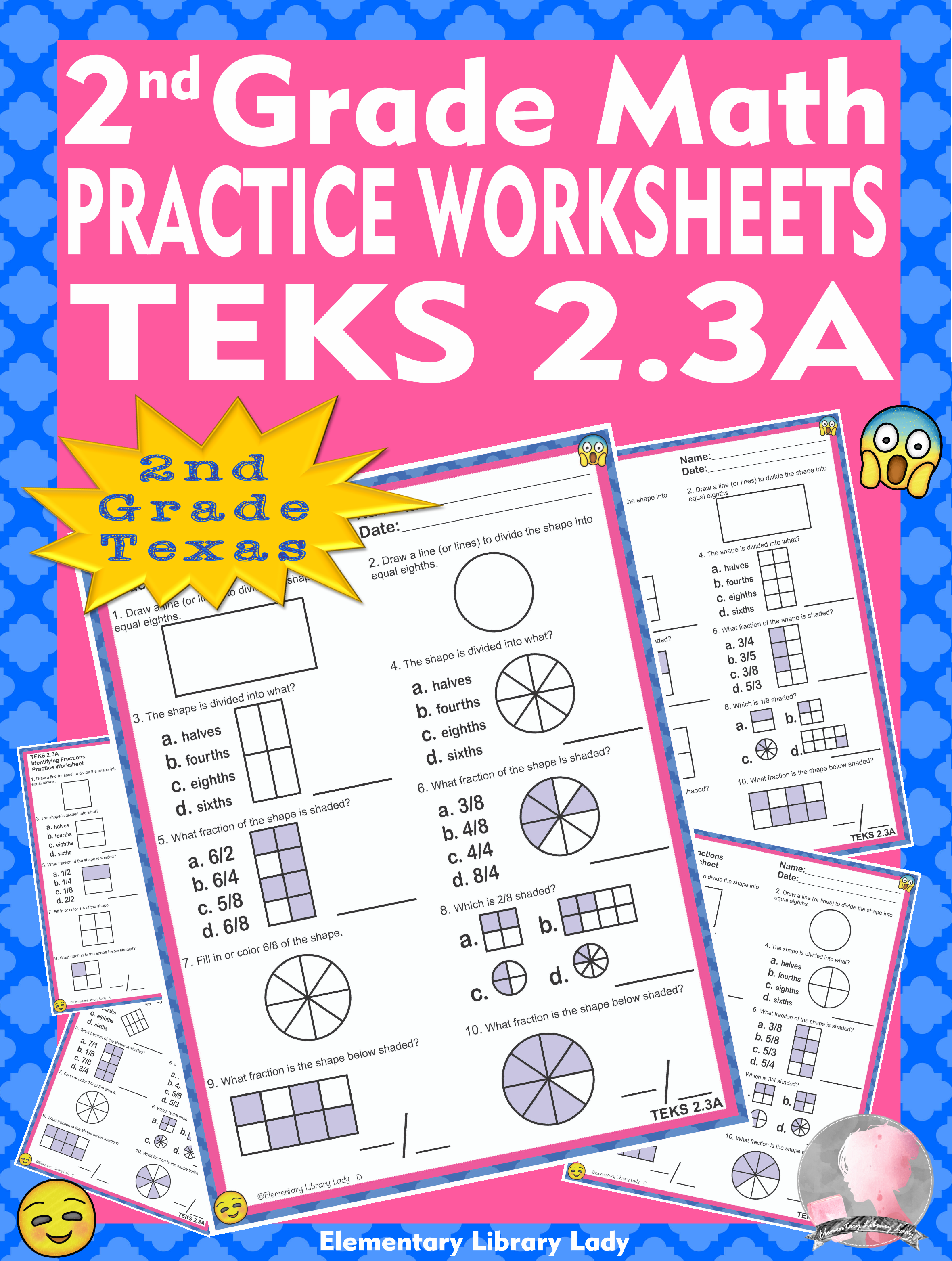 Math TEKS 2.3A Texas 2nd Grade Practice Worksheets Identifying Fractions   Math  teks [ 3124 x 2359 Pixel ]