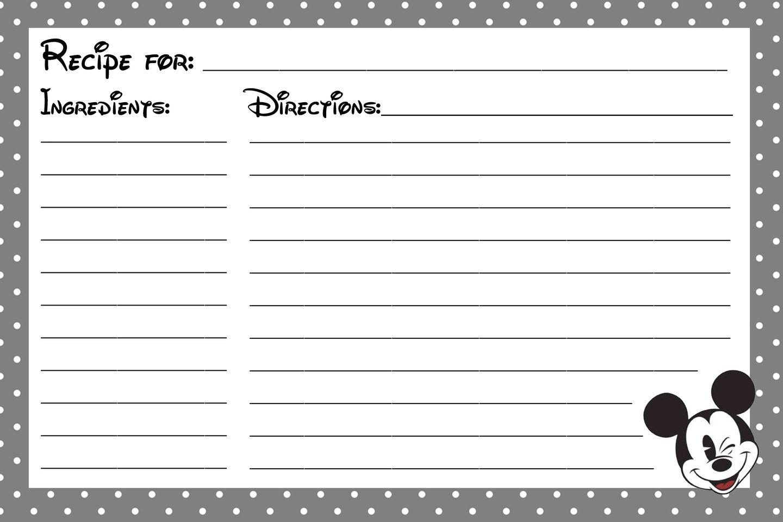 Mickey Recipe Card Printable!