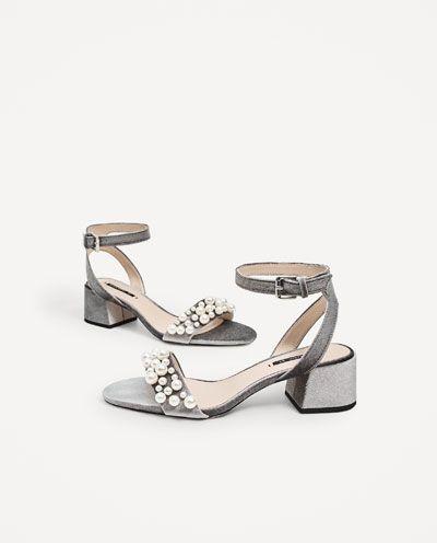 image 1 of velvet high heel sandals with pearl appliquÉ