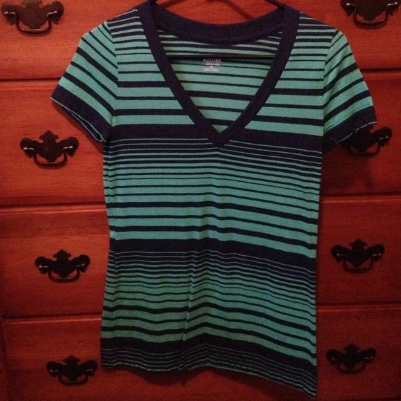 Mossimo blue and green stripe v neck size S This is like new. Worn 7-8 times. Teal and navy stripes. V neck and short sleeve Mossimo Supply Co Tops Tees - Short Sleeve