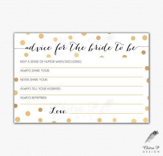 Gold Black Bridal Advice Card Printed Or Printable Instant Confetti Wedding Art Deco Pop Fizz Clink Shower Gatsby 013