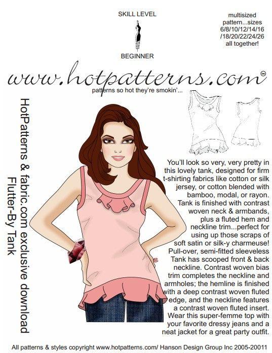 PATTERN! FREE Flutter-By Tank Top Pattern | Shirt patterns ...