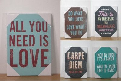 Lovely Fun Quotes Words Sayings Shabby Chic Vintage Stretched Canvas Wall Art  Picture