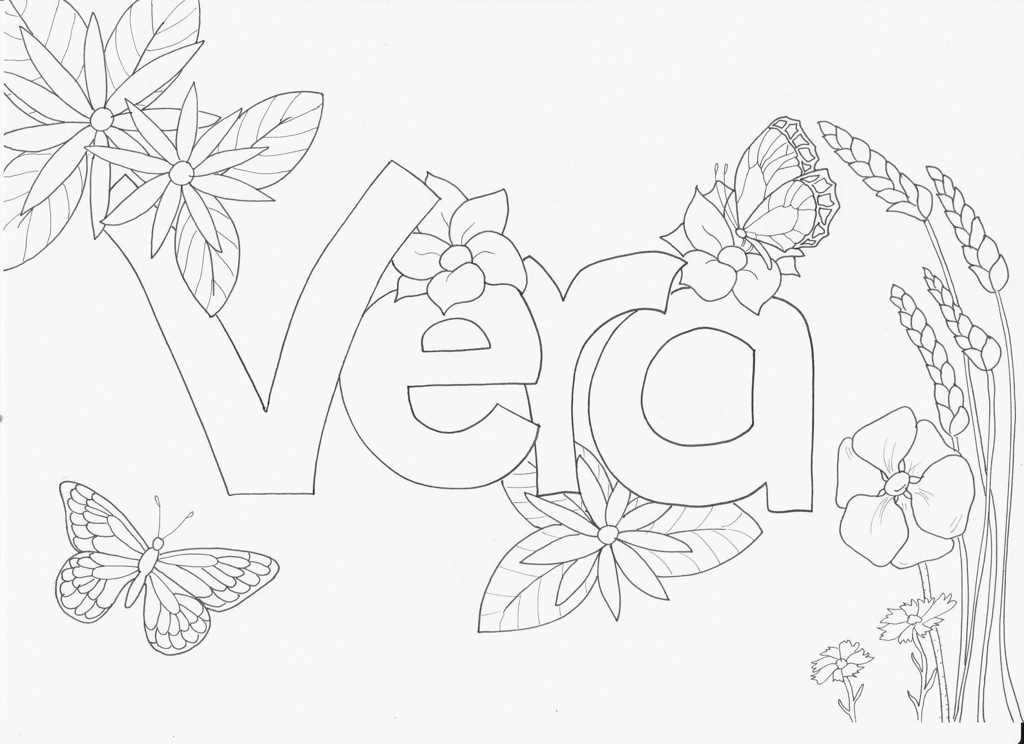 Kleurplaat Met Je Naam Vera Naamkleurplaat Kleurplaten Vlinders Naam