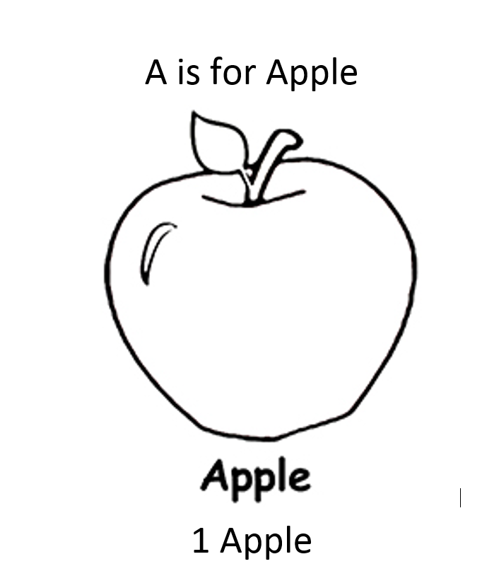Apple Coloring Page For Letter A And Number 1 Apple Coloring Pages Preschool Coloring Pages Fruit Coloring Pages