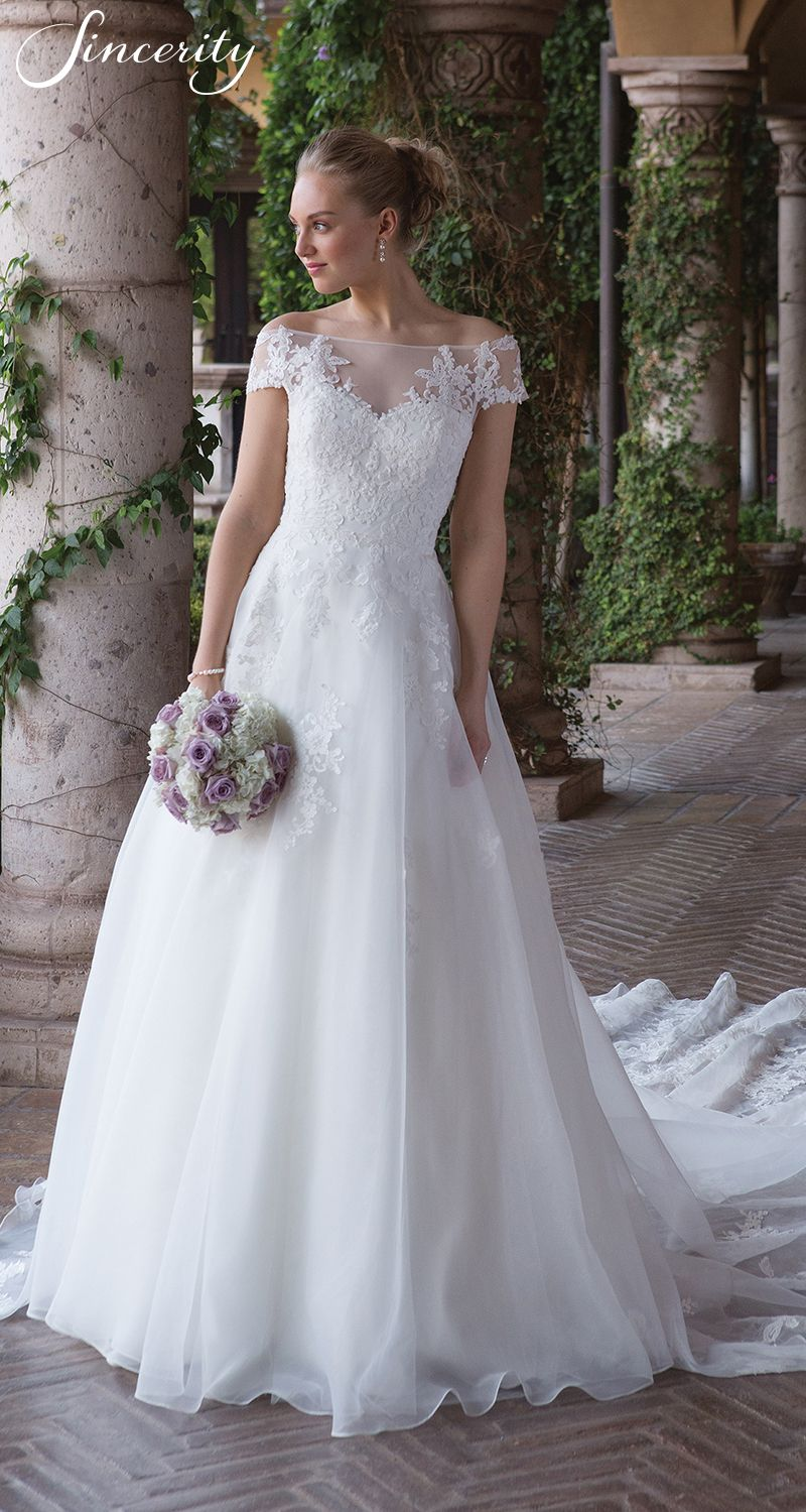 Sincerity wedding dress style cathedral train illusions and