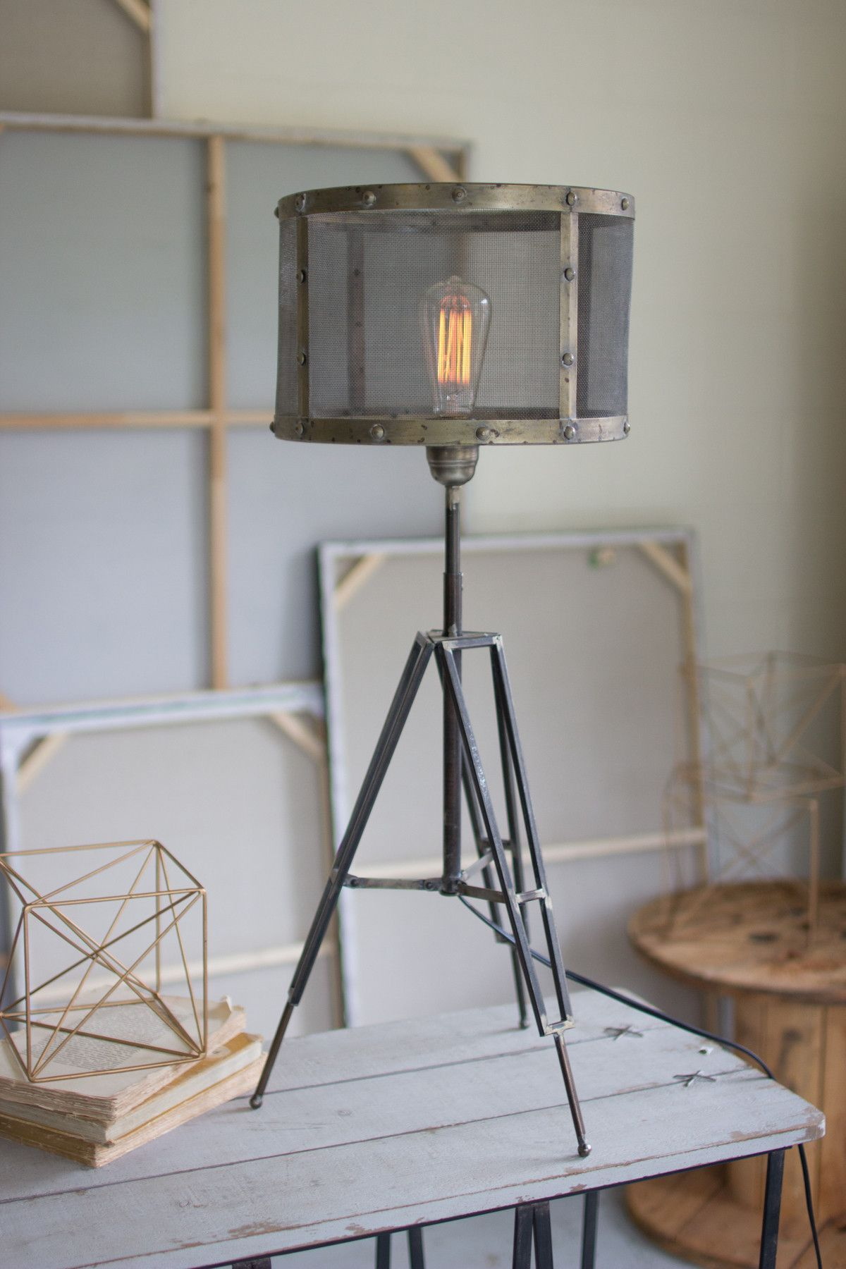 Industrial tripod desk lamp with wire mesh shade wire mesh desk industrial tripod desk lamp with wire mesh shade greentooth Images