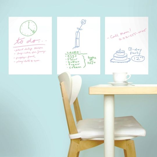 Mini Dry Erase Decals By Wallcandy Arts White Board Chalkboard Wall Decal Whiteboard Wall