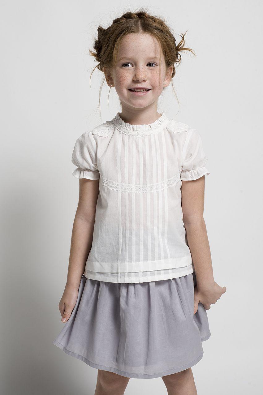 Conjunto de ni a formado por una falda gris y una blusa de jaretas colecci n primavera verano - Monalisa moda infantil ...
