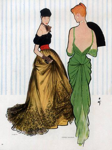 Pierre Balmain (Couture) 1947 Paquin, René Gruau #René Gruau #Rene Gruau #vintage #fashion #ad
