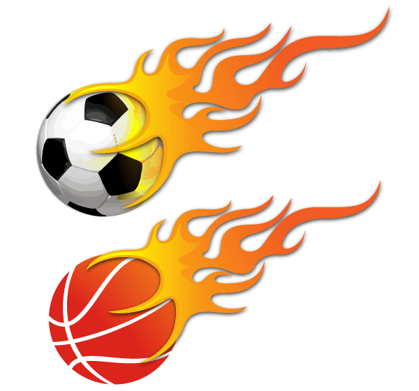 Vector Ball On Fire Soccer Ball And Basketball Soccer Ball Basketball Equipment Soccer