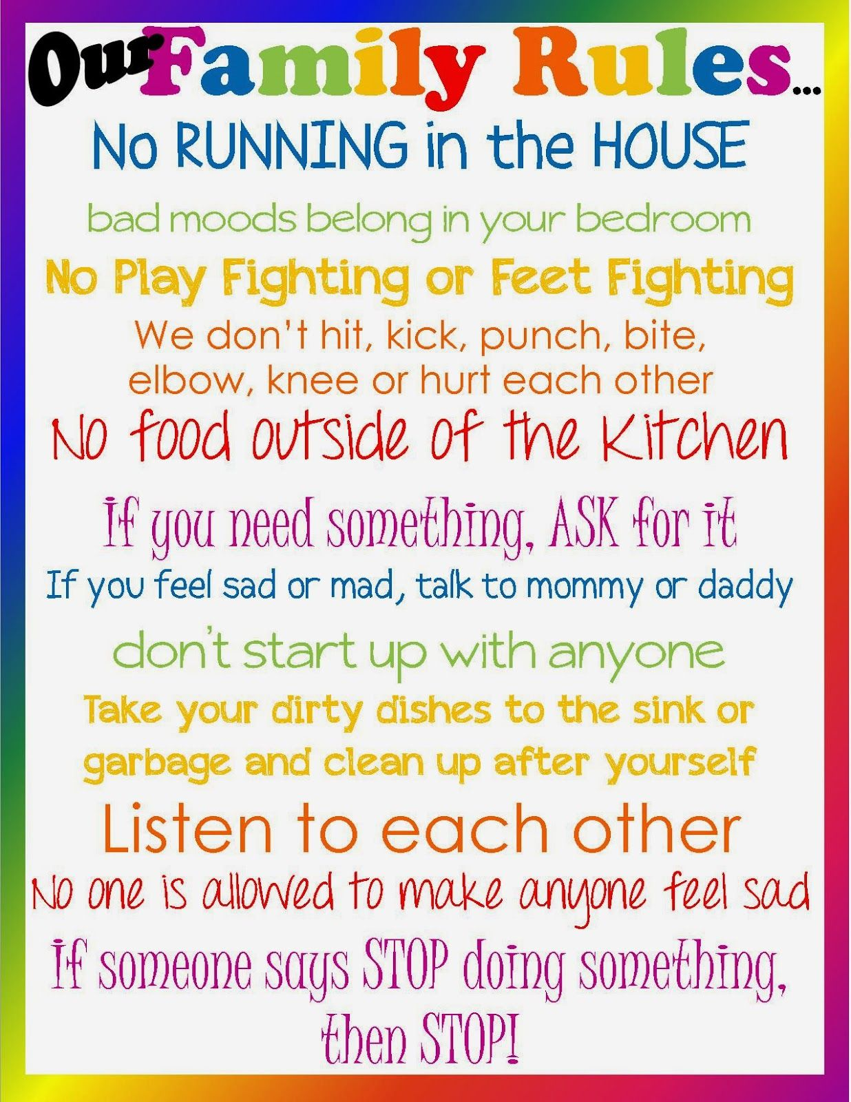 family house rules template | don't lose sight of the ultimate
