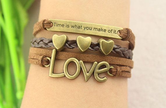 love bracelettime is what you make of itantique bronze by gunrose, $6.98