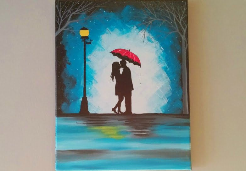original couple kissing in the rain wall artcouple by