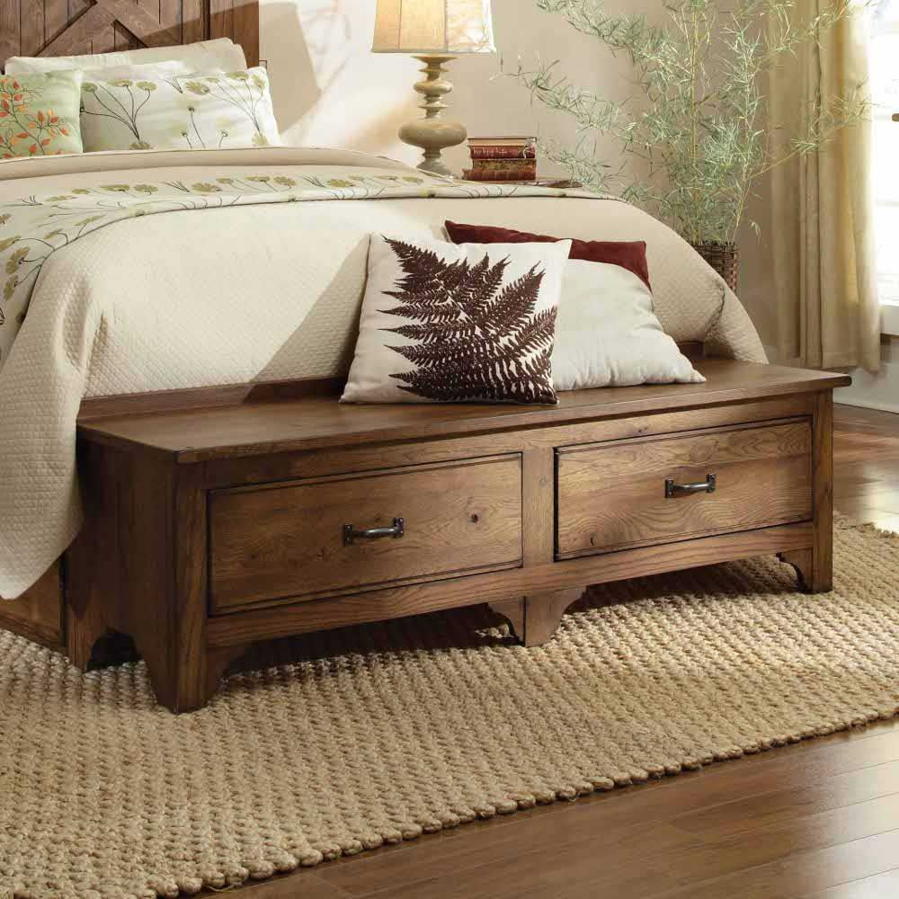 Kincaid Furniture Homecoming Vintage Oak King Cal Storage Footboard Bench