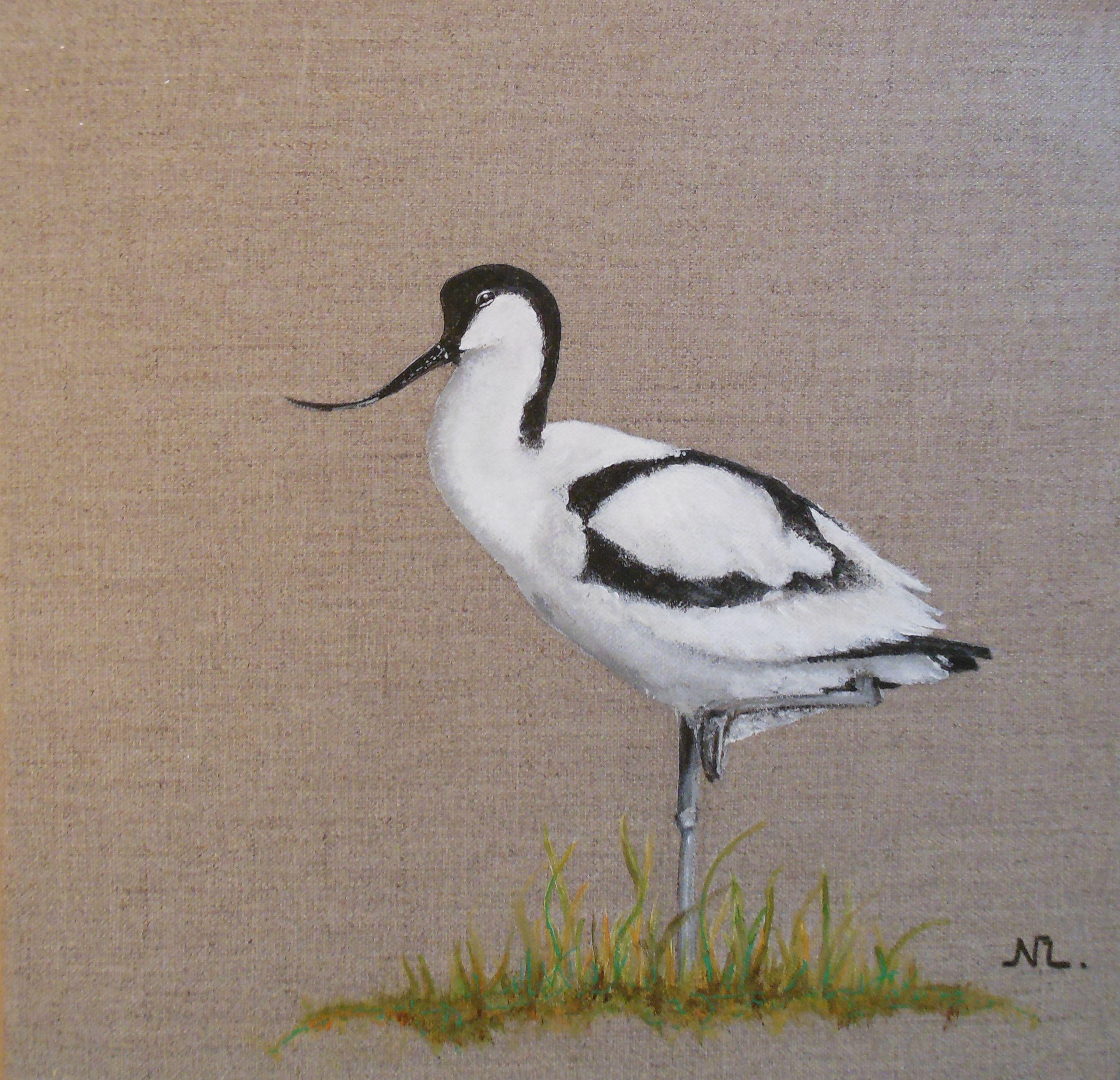 """Tableau d'oiseau : """" L'avocette"""", peinture animalière sur toile de lin, 30 x 30 cm. Pour en savoir plus : http://www.alittlemarket.com/boutique/nathalie_lemoine-1265875.htmlur toile de lin, 30 x 30 cm."""