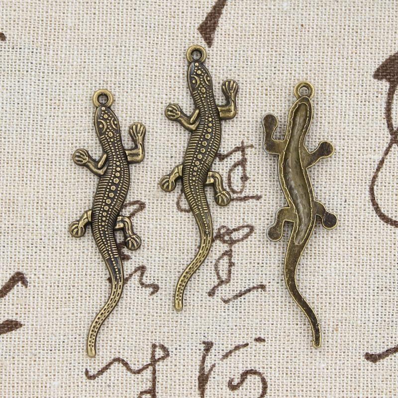 99 cents 5 pz charms lucertola 56*15mm antico che fanno del pendente fit, vintage tibetano bronzo, fai da te collana del braccialetto