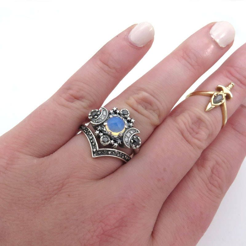 Opalite Quartz Cosmos Moon Engagement Ring Set from Swank