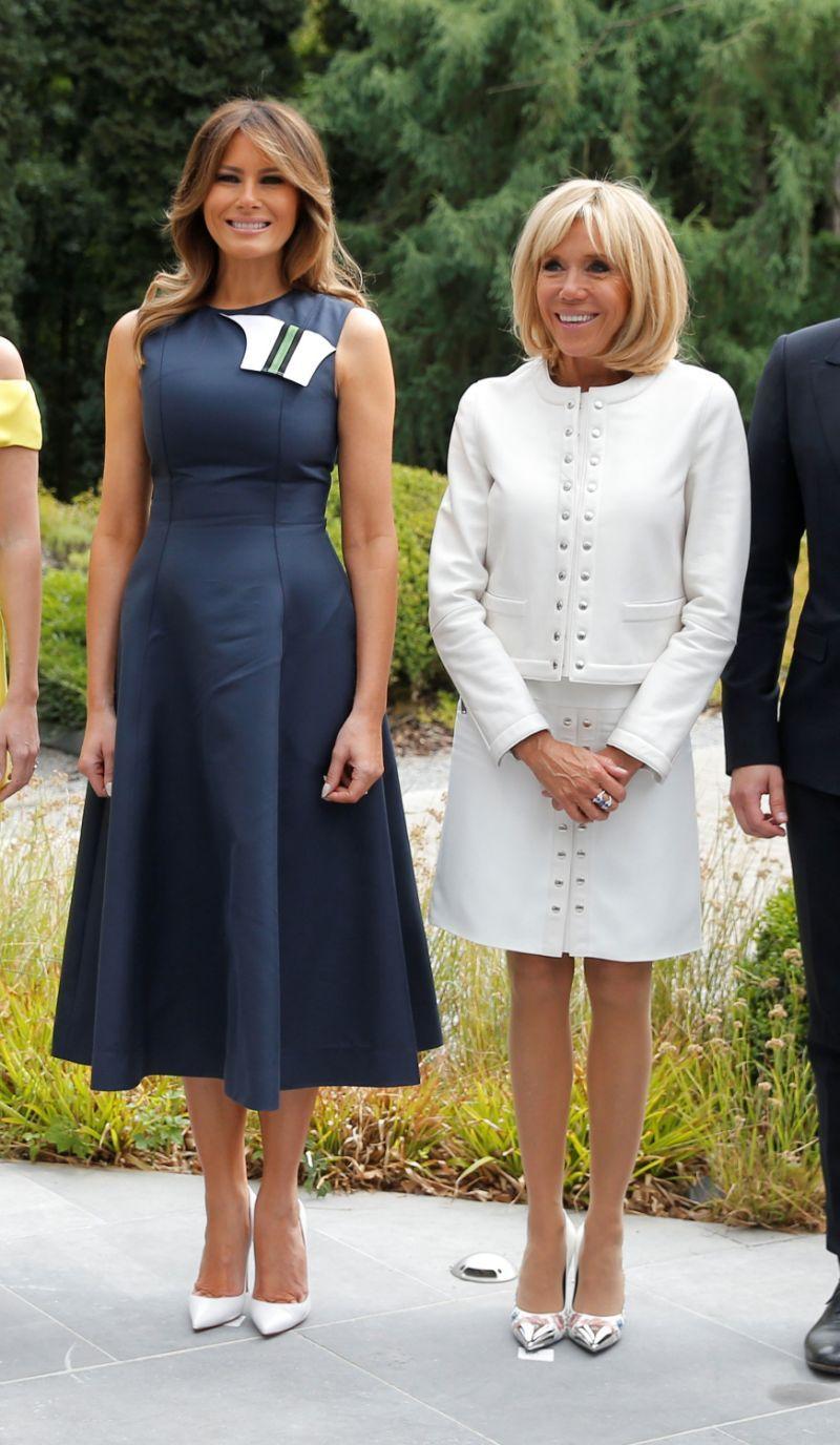 In Belgium Brigitte Macron And Melania Trump Are Style Opposites Trump Fashion Milania Trump Style Celebrity Style