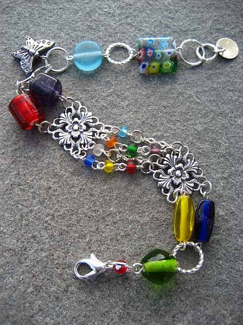 """""""Somewhere Over The Rainbow""""  Beaded Bracelet. Pin to your rainbow board! $21"""