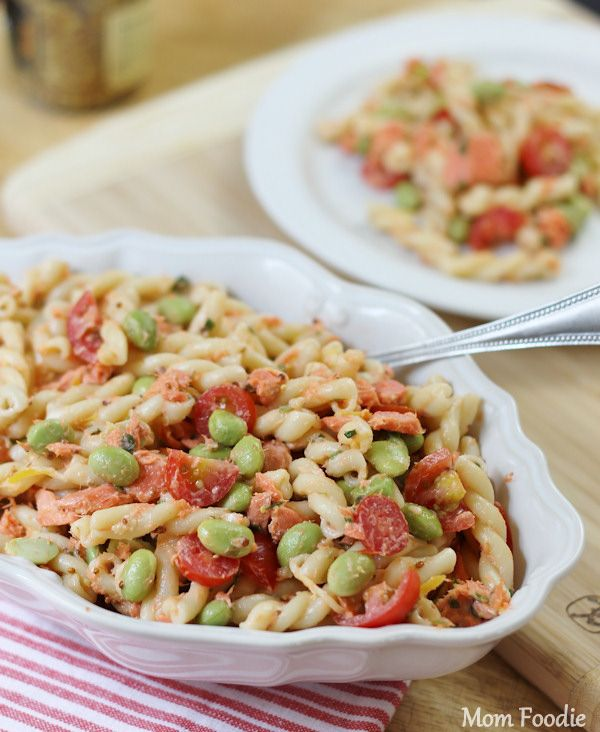 Salmon Edamame Pasta Salad Recipe Edamame Pasta Pasta Salad