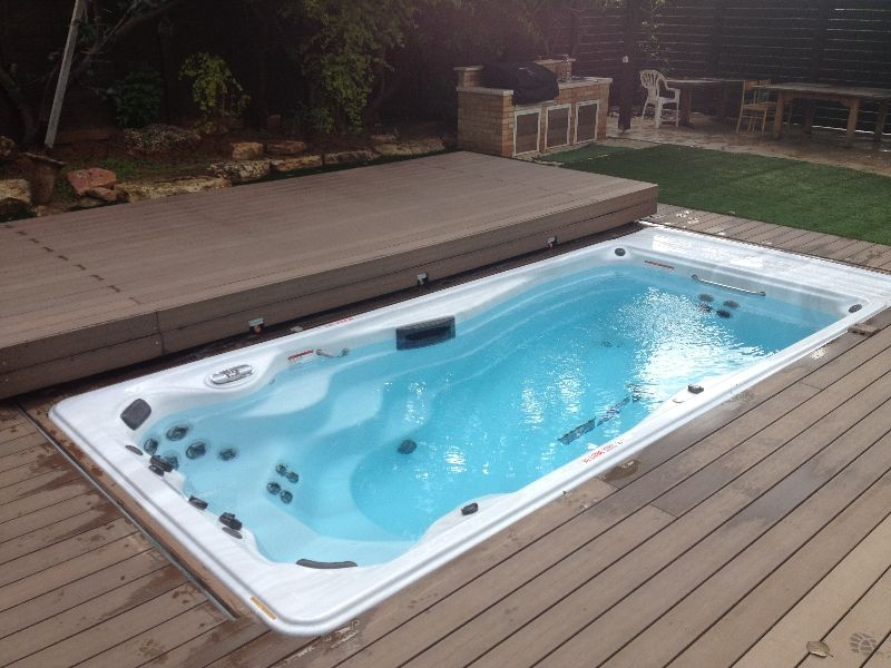 Recessed swim spa in deck paradise installations - Covering a swimming pool with decking ...
