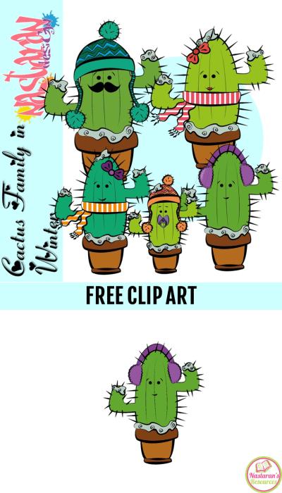 Cactus Family In Winter Clip Art Free Nastaran S Resources Free Clip Art Clip Art Winter Clip Art Free