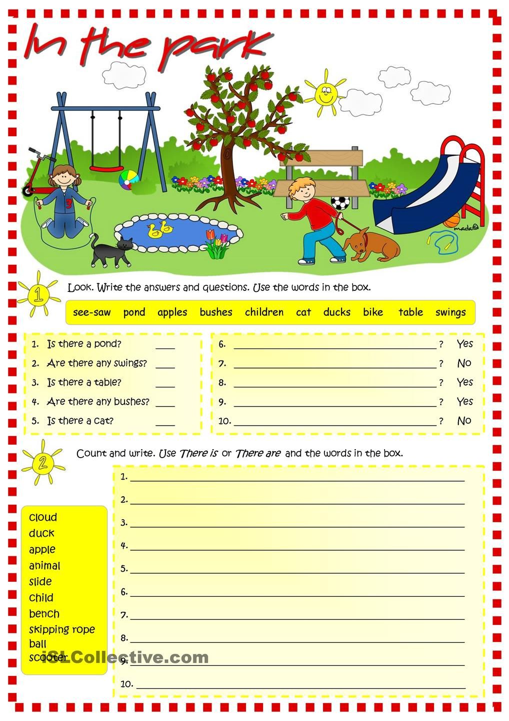 in the park there is there are worksheet free esl printable worksheets made by teachers. Black Bedroom Furniture Sets. Home Design Ideas