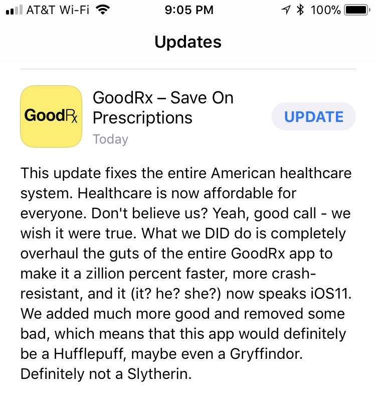 Great app update description. Health care, App, Product