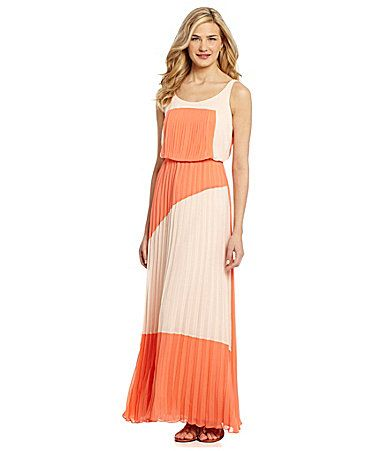 Vince Camuto Colorblock Pleated Maxi Dress #Dillards