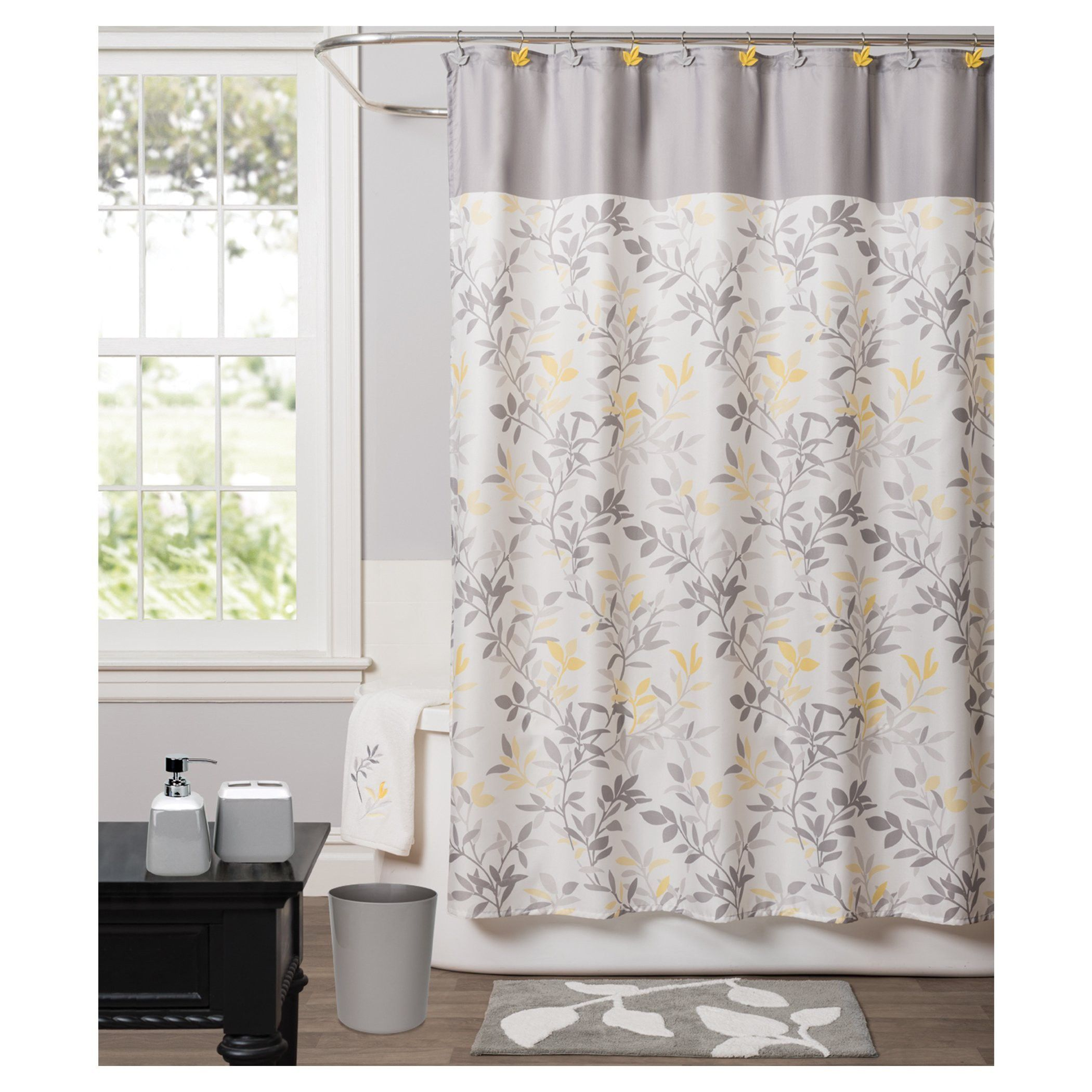 Trellis Fabric Shower Curtain Yellow