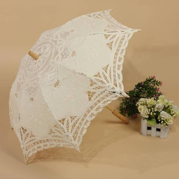 Chic Lady Vintage Handmade Cotton Parasol Lace Sun Umbrella Bridal Wedding Party #New