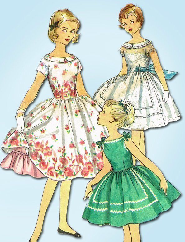 1950s Vintage Little Girl\'s Dress 1956 Simplicity Sewing Pattern ...