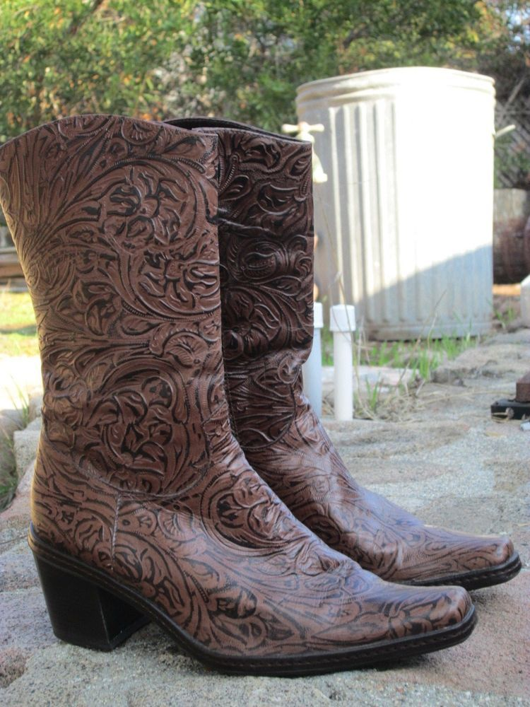 67ed50b2bbf Gianni Bini Womens Western Style Tooled Leather Boots Size 7M ...