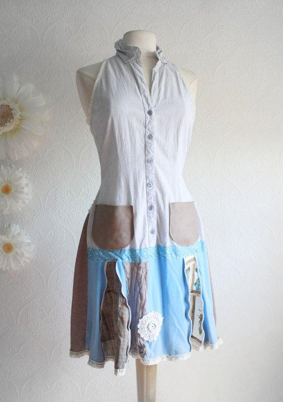 Women S Upcycled Dress Bohemian Clothing Light Blue Drop Waist Brown