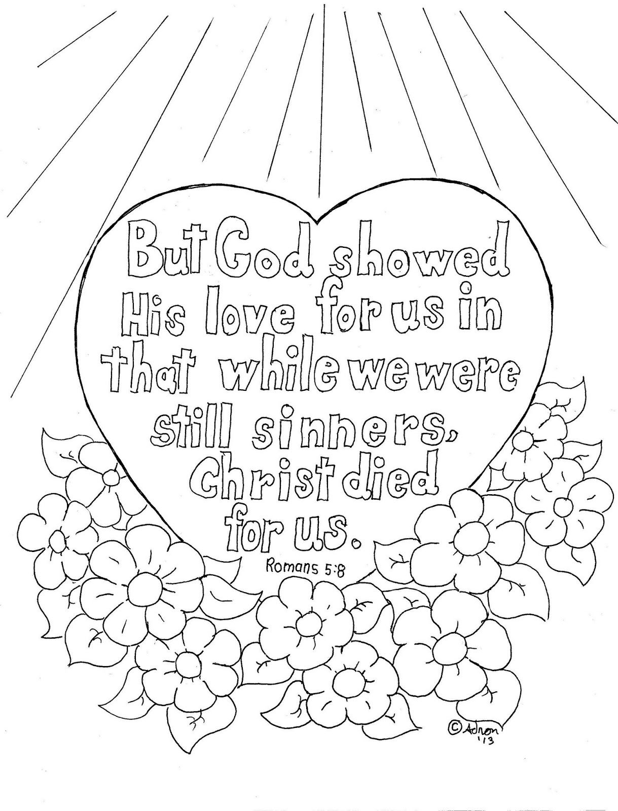 Romans 5 8 Coloring Page For Kids Heart Coloring Pages Love