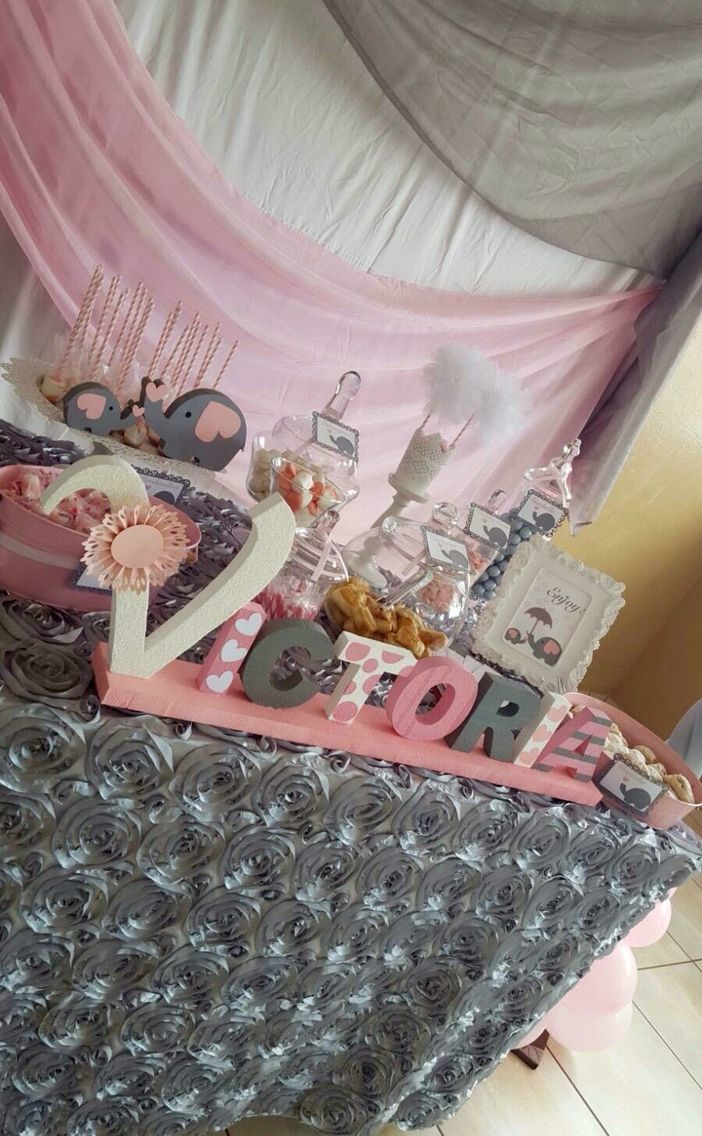 Pink And Gray Candy Bar Baby Shower Pinterest Baby Shower