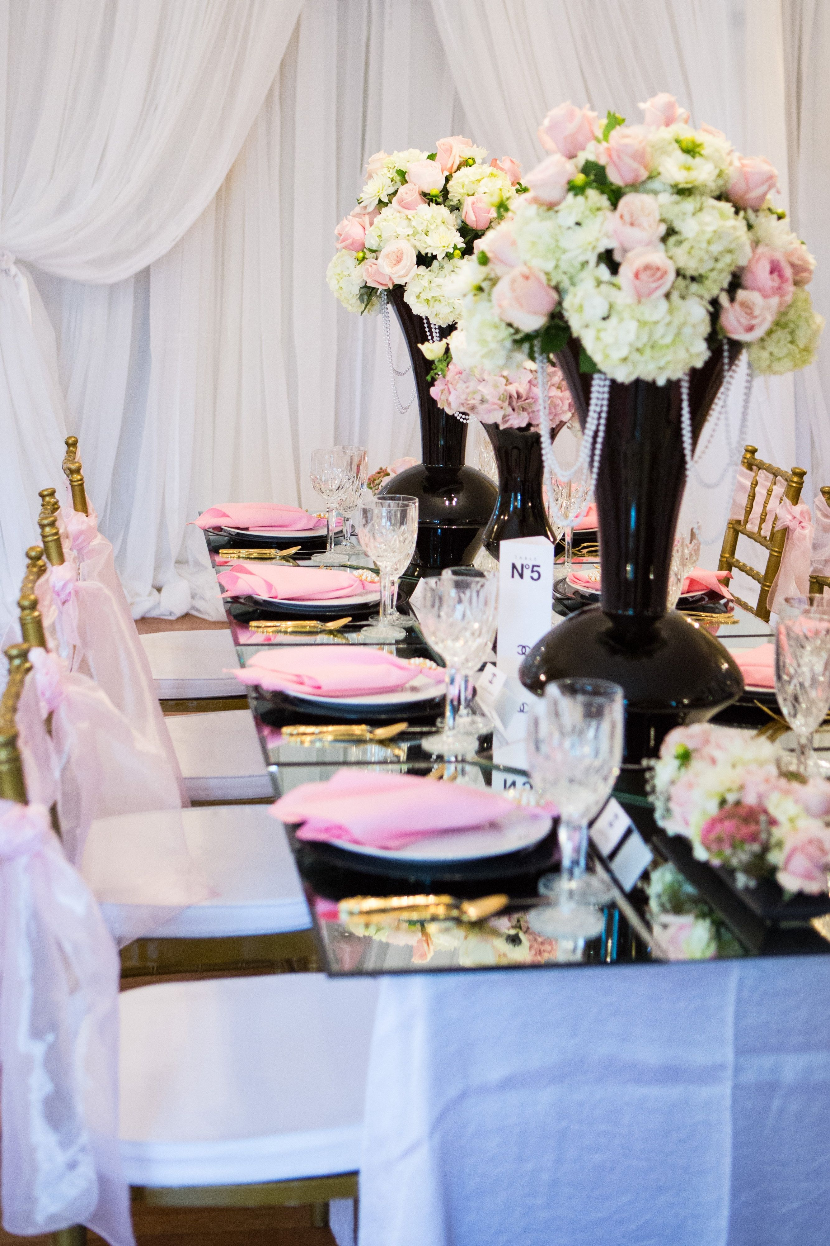 Pin by Christell's Flowers on Chanel Inspired Wedding | Pink black weddings,  Bride blog, Wedding bride